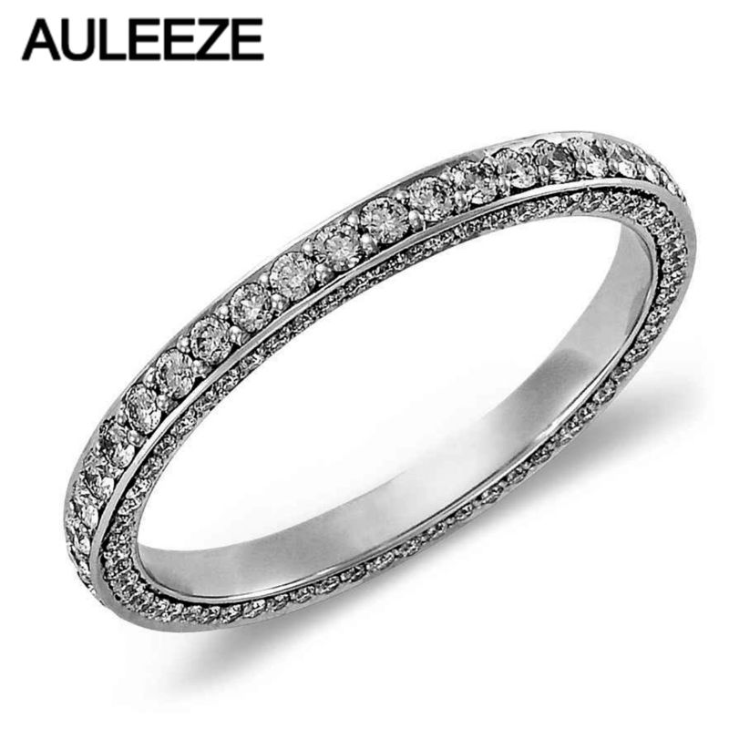 Fashion Trio Micro Pave Moissanites Lab Grown Diamond Eternity Wedding Band For Women Solid 14K 585 White Gold Engagement Ring aeaw lab grown diamond moissanites engagement bangle solid 10k white gold bracelets for women wedding fine jewelry