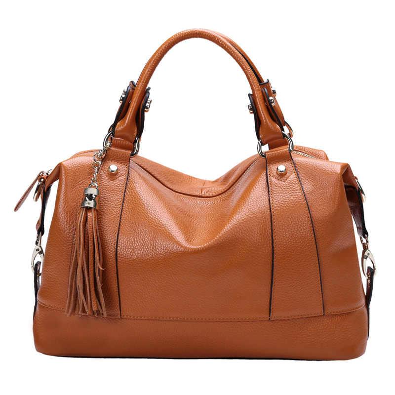 Fashion Tassels Bags 100 Genuine Leather Women S Messenger Bag First Layer Designer Shoulder