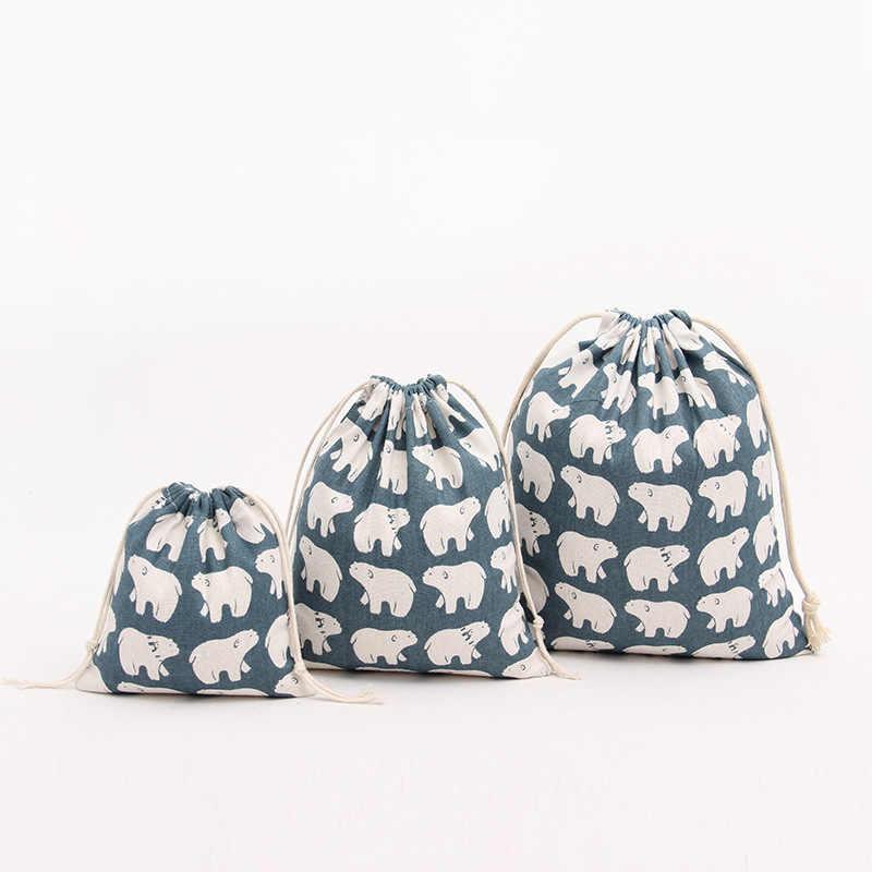 Urso preto de linho algodão closet organizer bag saco de viagem saco de sapato para casa Diversos sacos de armazenamento de brinquedo de criança Saco de Cordão Saco Portátil