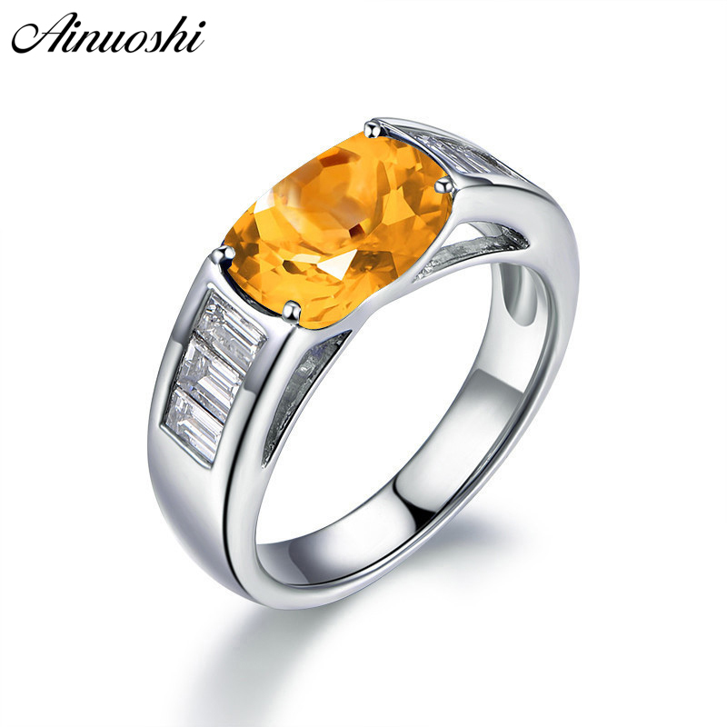 AINUOSHI Classic Natural Citrine Ring 4 Carat Oval Cut Gemstone Engagement Party Jewelry Genuine 925 Sterling Silver Women Ring