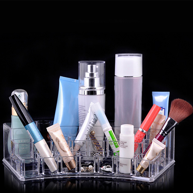NC Clear Acrylic Cosmetic Make up Organizer Makeup Jewelry Lipstick Brush Nail polish Holder Storage Box de maquiagem Accessory