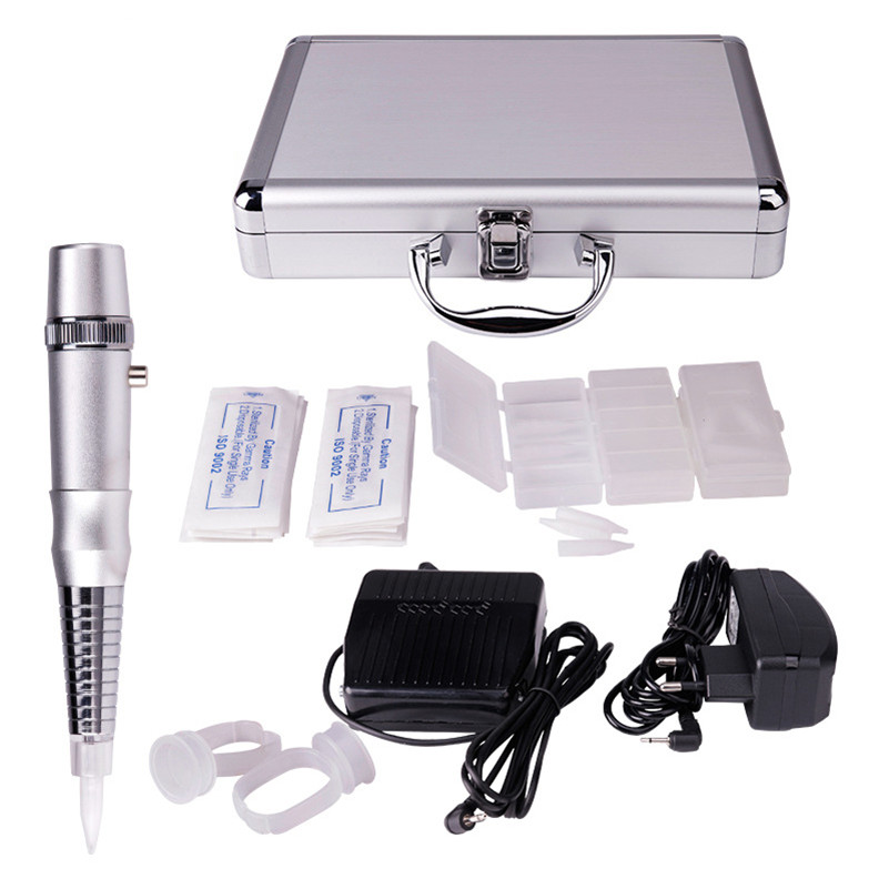 Permanent Makeup Beauty Tattoo Supply Kits Rotary Tattoo Eyebrow Lip Machine Pen Needle Cartridges Footpedal + Aluminum Box solong tattoo kit hybrid kit rotary machine eyebrow permanent makeup pen motor 20 needles cartridges rca connection line tattoo
