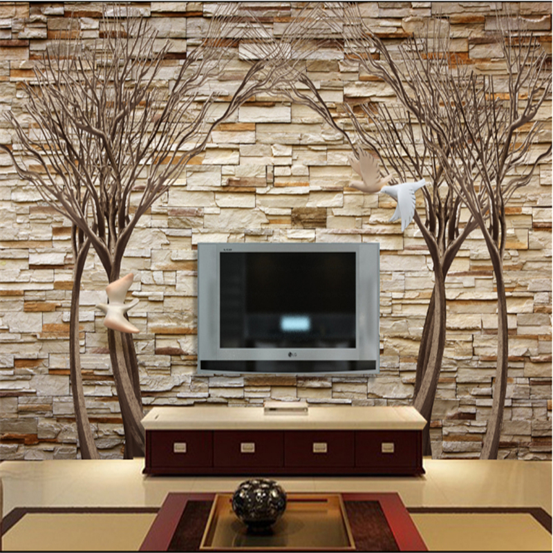 Custom Vintage 3D Wallpaper Stereo Withered Tree and Birds Waterproof Embossed Non-Woven Bedroom Wall Paper Roll for Living Room beibehang lovely abc print kid bedding room wallpapers ecofriendly fantasy non woven wall paper children mural wallpaper roll