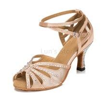 New Ladies Girls Nude Black Blue Satin Rhinestone Salsa Ballroom Dance Shoes Latin Dance Shoes Mambo Dancing Shoes