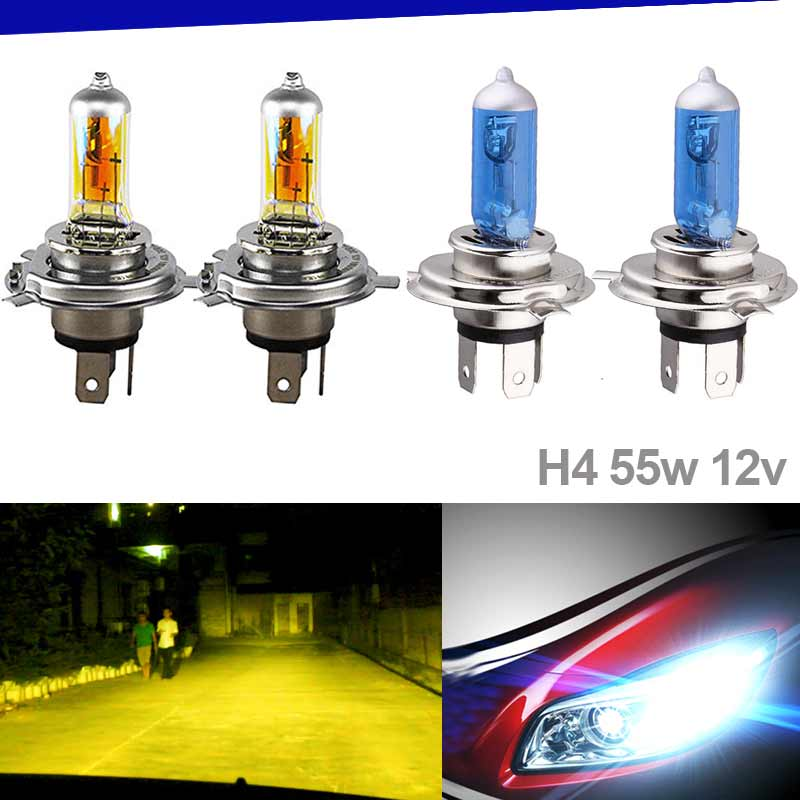 1pair Auto H4 55W Halogen Bulb Car DRL Head Light Daytime Running Driving Light Fog Light Automobiles Moto CSL2017