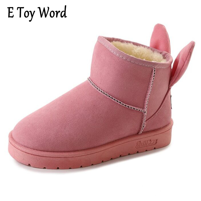 E TOY WORD Snow Boots Women Flat Winter Ankle Boots Women Rabbit Ear Lovely Boots Non-slip velvet with thick Warm Cotton Shoes