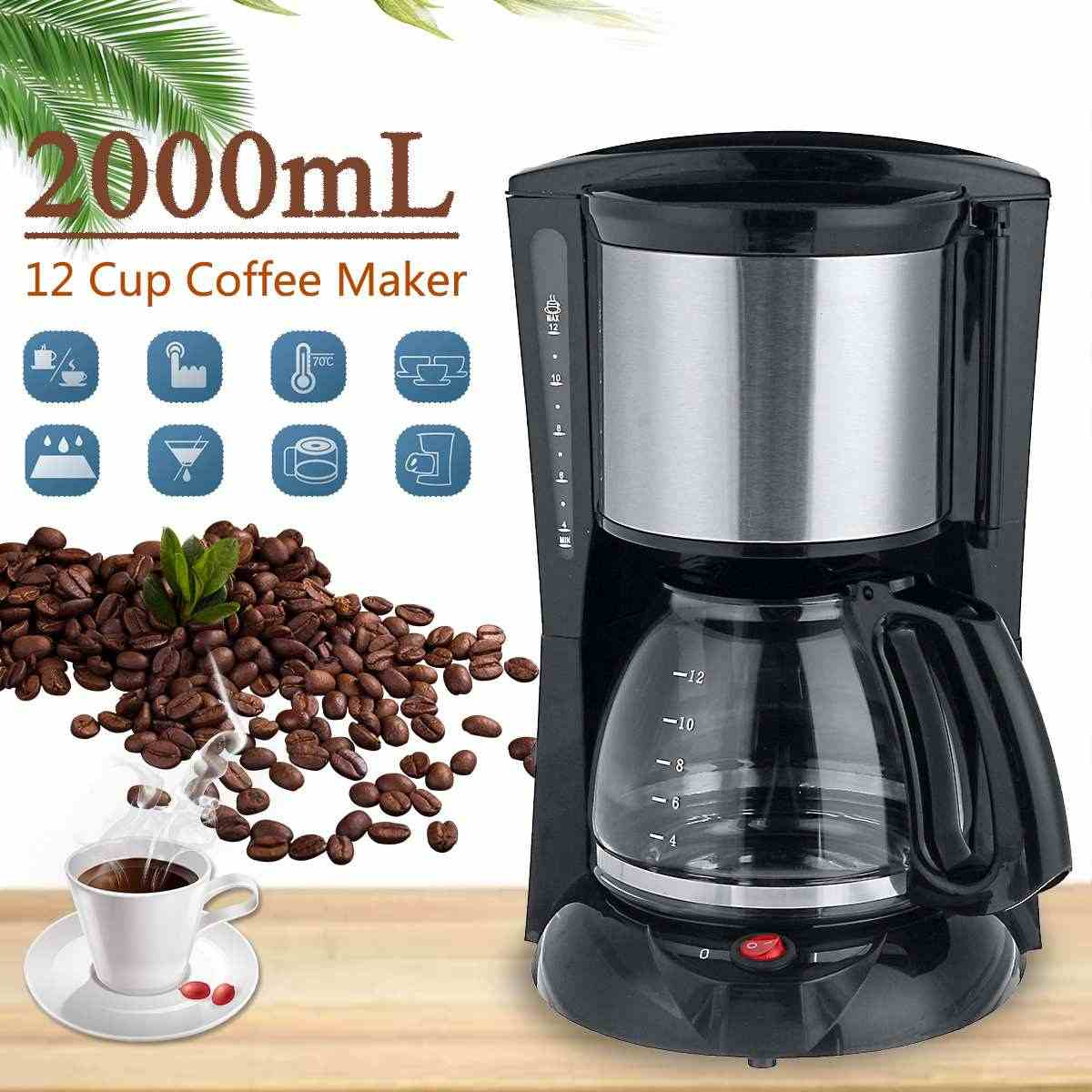 Becornce 1 8 2l Household Office American Style Drip Tea Coffee Making Machine 12 Cups Coffee Maker 900w Temperature Control Aliexpress