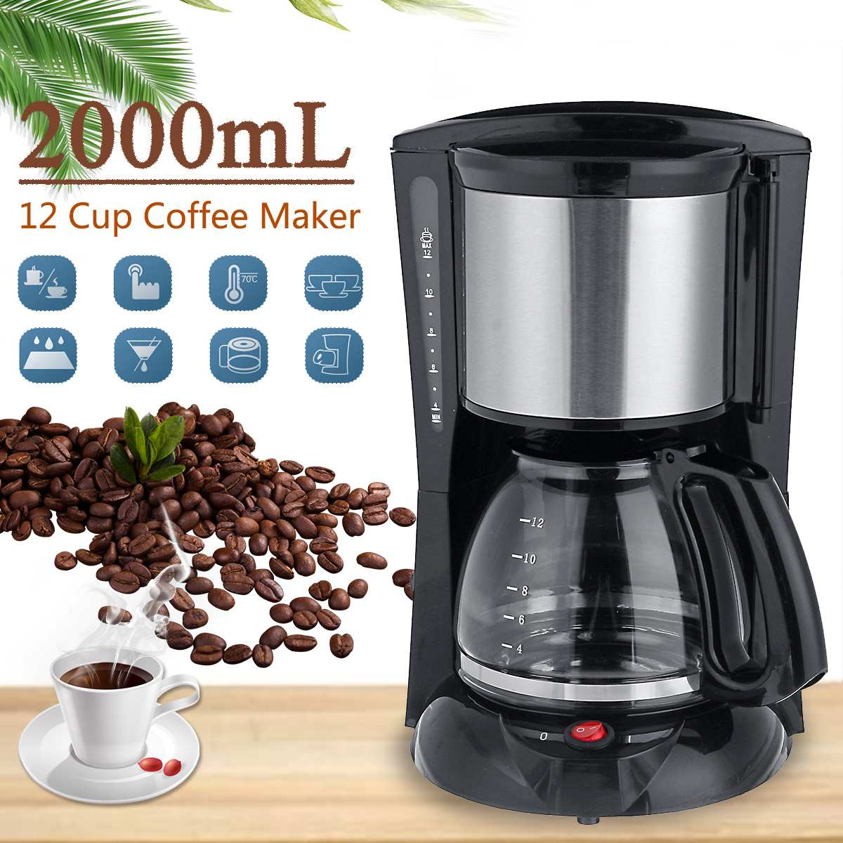 Becornce 1.8-2L Household Office American Style Drip Tea/Coffee Making Machine 12 Cups Coffee Maker 900W Temperature Control