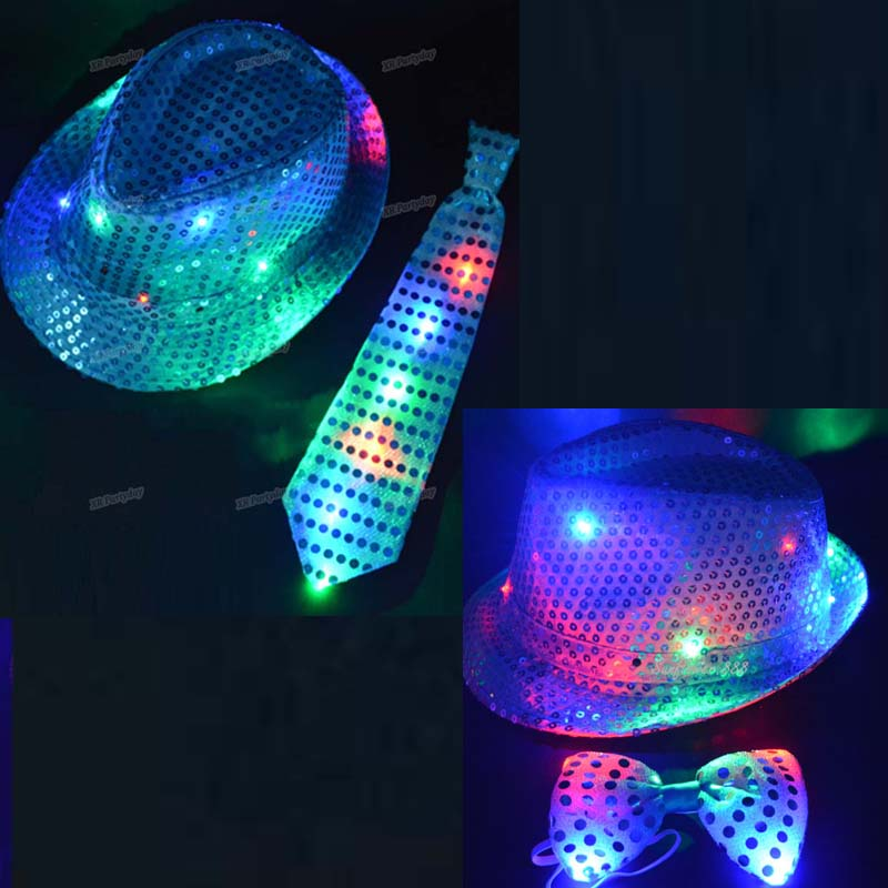 LED Flashing Light Up Sequin Tie Bow With Fedora Hat Party Bow Tie Wedding Boy Men Christmas