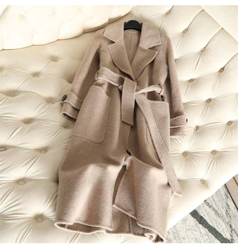 QIAN SI CHEN 19 Autumn New 100% Cashmere Coat Alpaca Warm Winter Coat Women Long Wool Coat Office Lady Slim Female Overcoat 13