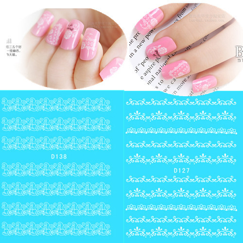 1 sheet Water Transfer Nail Art Stickers Decals Sexy White Lace Butterfly Watermark Wraps DIY Decorations Nail Tools SAND100 10 sheets lot charming nail stickers full wraps flowers water transfer nail decals decorations diy watermark manicure tools