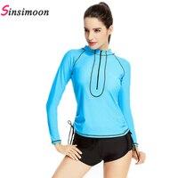 Sexy Women Wetsuit Long Sleeve Swimwear Sets M XL Rash Guards Competition Swimsuits Boxer Beachwear Boxer