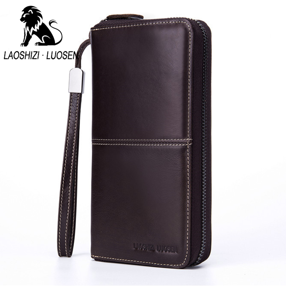 LAOSHIZI Men Long Purses Organizer Wallets Cowhide Soft Leather Business Wallet With Card Slot Retro Clutch Bags Big Capacity