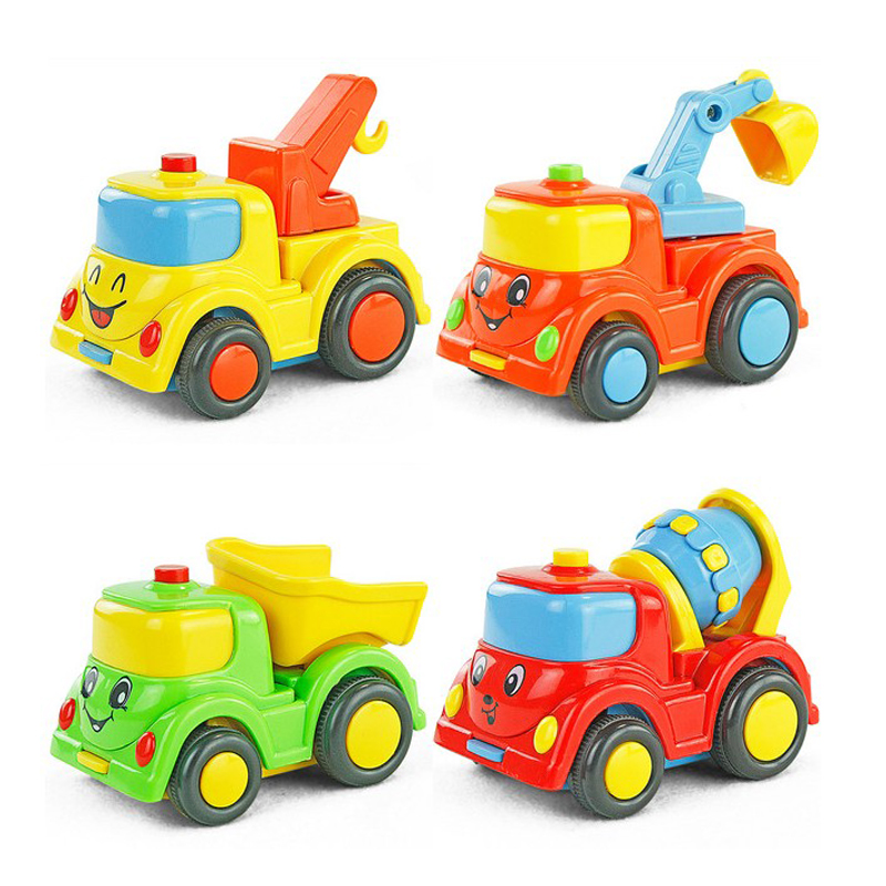 City Building Construction Serie von Kinderspielzeug Mini Car Smiley Baby Truck zurück Inertial WJ125