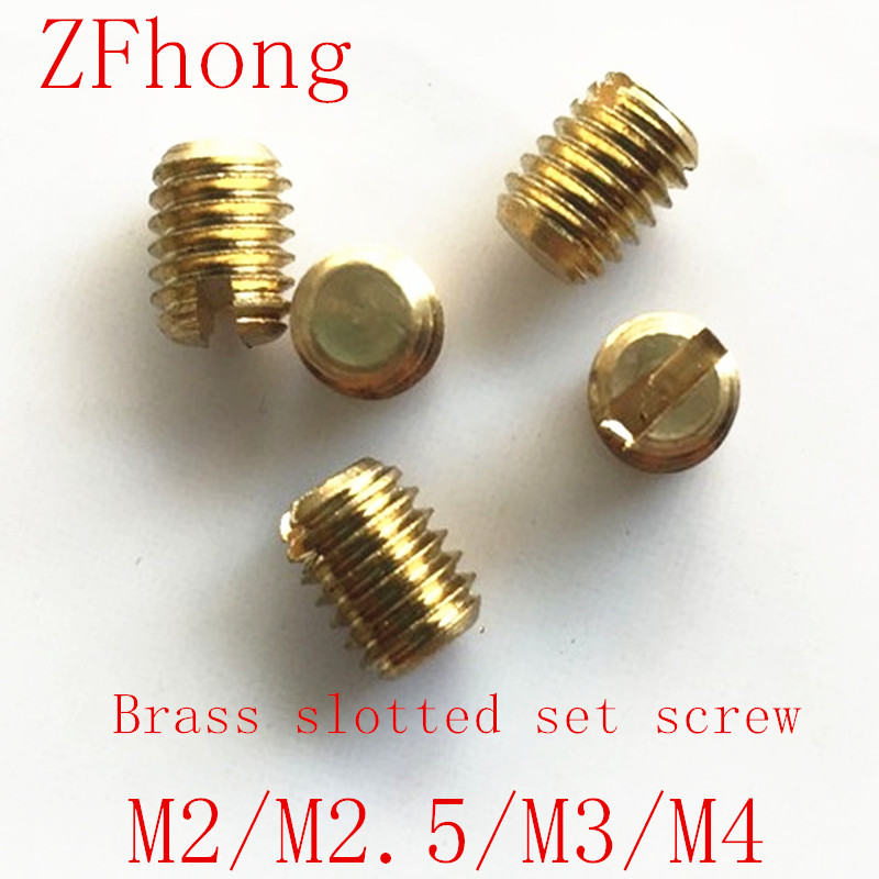 50Pcs M2 M2.5 <font><b>M3</b></font> M4 slotted headless <font><b>screws</b></font> grubs flat end tighten bolts <font><b>screw</b></font> brass bolt 3-<font><b>10mm</b></font> Length image