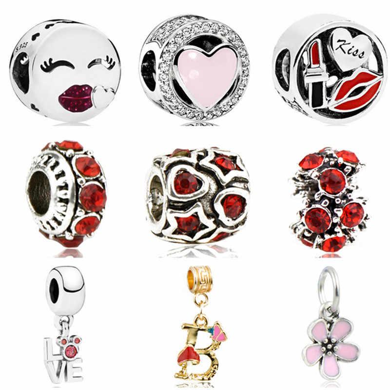 Fashion Enamel Senyum Cinta Hati Bibir Nenek Kepingan Salju Bintang Cinta Jantung Crystal Manik-manik Cocok Pandora Pesona Gelang Wanita Perhiasan