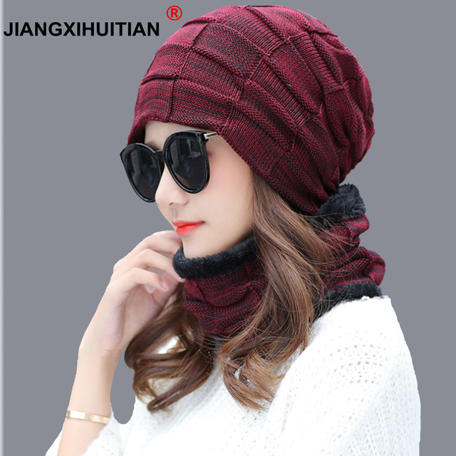 460f5458b44 New Fashion Hats men Winter Wool Ski Hat scarf Set Head hooded Cap Earmuffs  Head Caps Male beanie mask balaclava gorro masculino