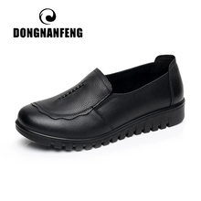 DONGNANFENG Women Female Old Mother Flats Shoes Loafers Slip On Round Toe Black Cow Genuine Leather Casual Non Slip 35 41 HD 807