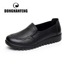 Dongnanfeng feminino mãe velha apartamentos sapatos mocassins deslizamento em dedo do pé redondo preto vaca couro genuíno casual não deslizamento 35 41 HD 807