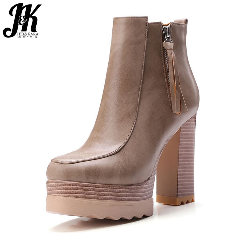 Size 34-42 4 Colors Good Quality Ankle Boots Women Add Fur Winter Boots Fashion Platform Tassel High Heels Noble Shoes Woman size 34 42 high quality short boots add fur platform winter shoes woman 2016 fashion thick high heels lace up shoes for women