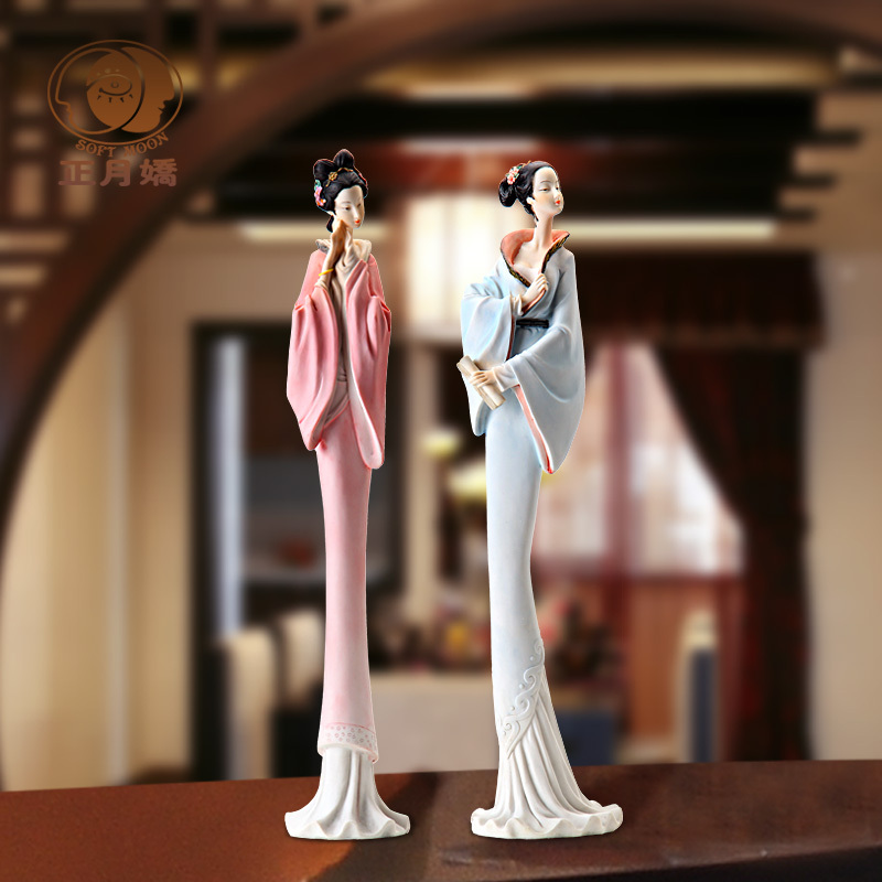 New House Decoration Living Room Unique Resin Crafts Wedding Gifts Chinese Ancient Ladies