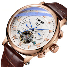 лучшая цена Top Brand Luxury Tourbillon Watch Mens Mechanical Watch Business Leather Automatic Watch Male Casual Waterproof Wrist Watch