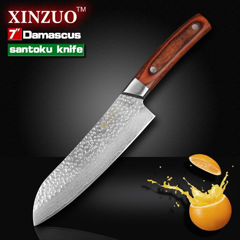 XINZUO 7 inches santoku font b knife b font Japanese VG10 Damascus kitchen chef font b