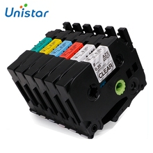 Unistar 6pcs compatible Brother P-touch TZe Label Tape 9mm TZe-121 TZe221 TZe421 TZe521 TZe621 TZe721 Combo Set Printer Ribbon