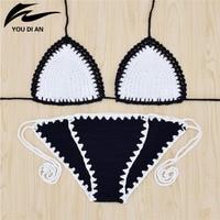 2017 New Style Bikinis Set Sexy Halter Patchwork Biquini Knitted Push Up Women Handmade Crochet Bikini