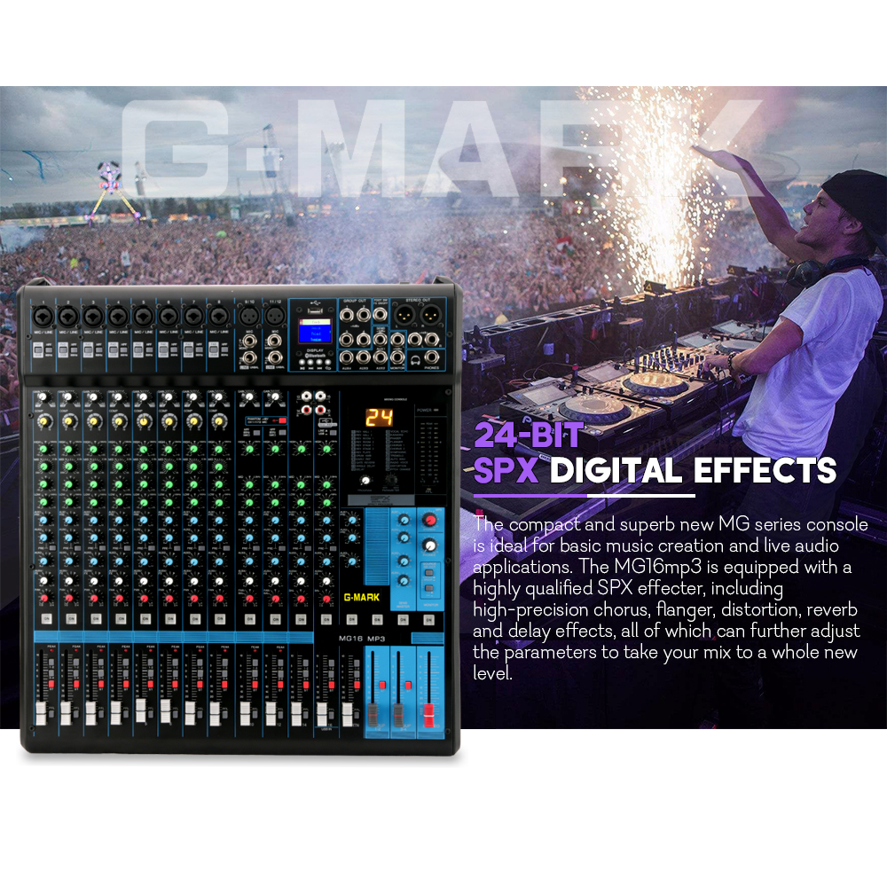 G-mark Gmx1200 Professional Audio Mixer Console Music Dj Studio 12 Channels 8 Mono 4 Stereo 7 Brand Eq 16 Effect Usb Play Fashionable Style; In