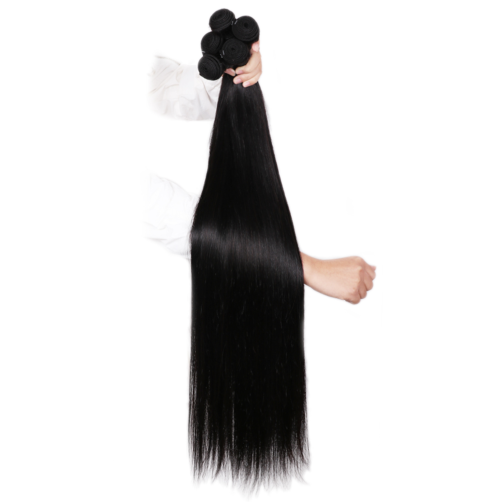 Abijale 1/3/4 Pcs Lot Remy Brazilian Straight Hair Bundles Long Human Hair Weave 26 28 30 32 34 36 38 40 inch Free Shipping