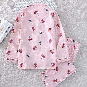 Image 5 - 2019 春の女性のかわいい桜のプリントパジャマ Mujer 100% ガーゼ綿の長袖パンツ薄型パジャマセット薄型ホームウェアパジャマ