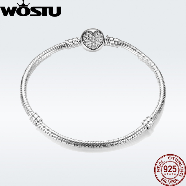 Wostu 925 sterling silver chain bracelet original bangle for women fit authentic charms beads fashion jewelry making bracelet