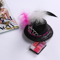 Bachelorette Party Accessories Hari Clip Colourful Feathers Black Mini Top Hat With Gemstone Tiaras Wedding Decoration