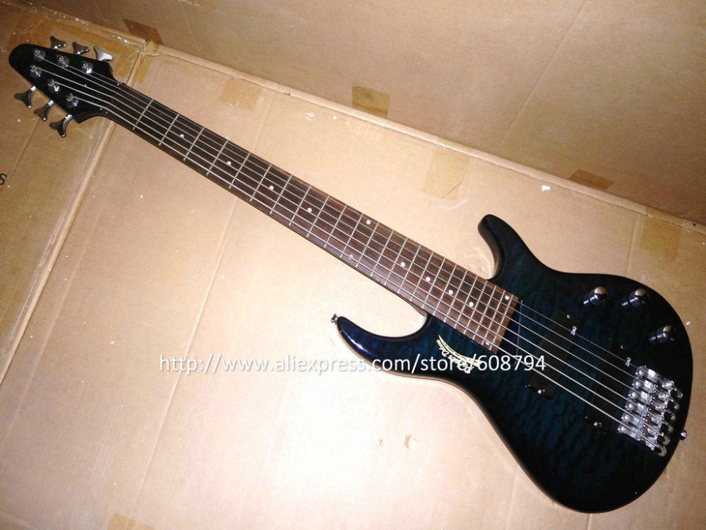blue 6 strings bass guitar in stock very cheap 6 strings bass sample china guitar factory free. Black Bedroom Furniture Sets. Home Design Ideas