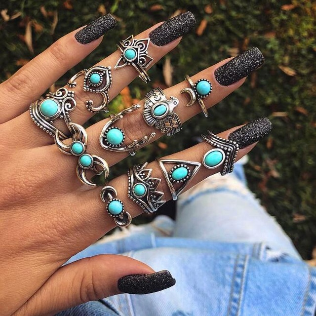 HuaTang Bohemian Antique Silver Ring Geometric Elephant Flower Green Rhinestone Knuckle Rings Midi Finger Anel Rings Jewelry 29