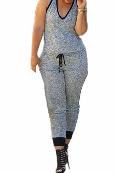 Grey-Drawstring-Waist-V-Neck-Sleeveless-Jumpsuit-LC60578-1
