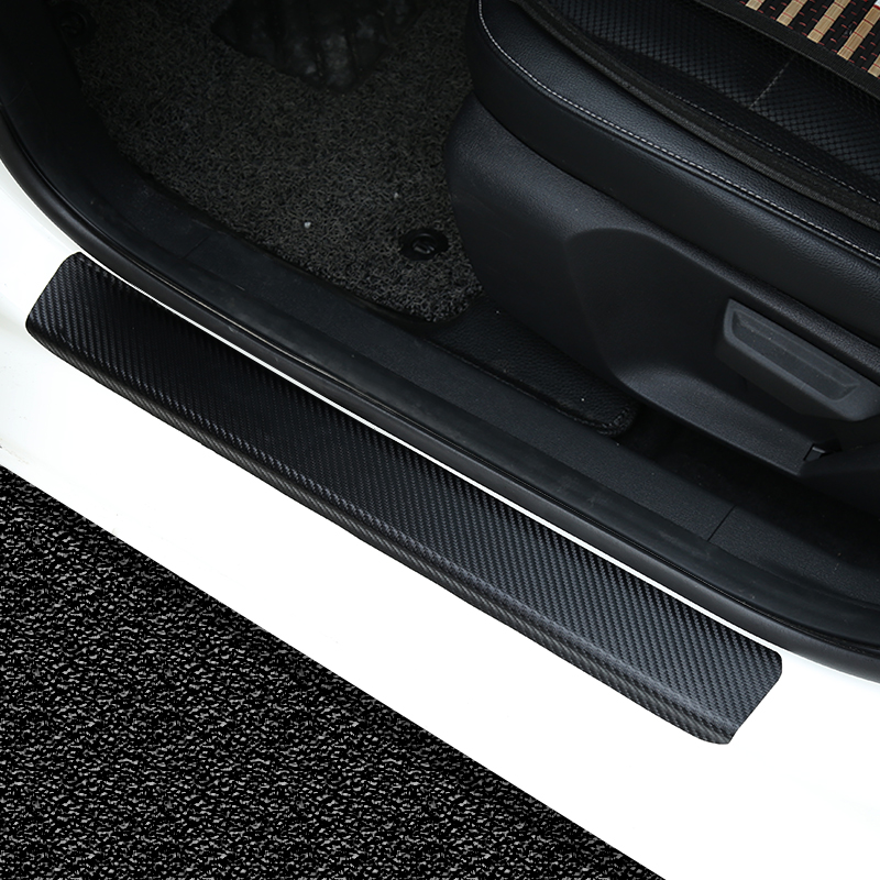KOUVI Carbon PU Leather scuff plate Door sill sills Guards For Mazda CX-5 CX 5 CX5 2017 2018 car styling accessories for mazda cx 5 cx5 2017 2018 leather car interior rear boot cargo trunk mat pad 1set car styling accessories