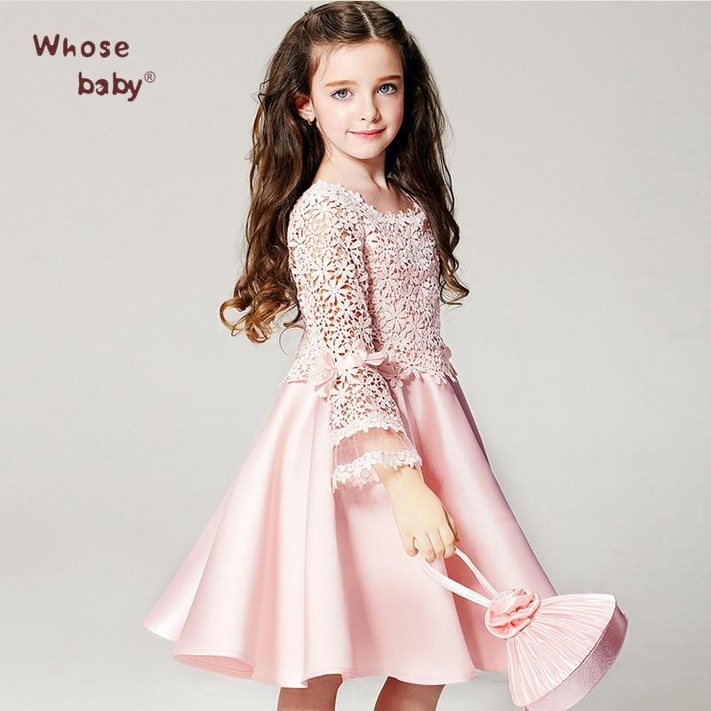 2017 Summer Elegant Girl Dress Girls Fashion Pink Lace Big Bow Party ...
