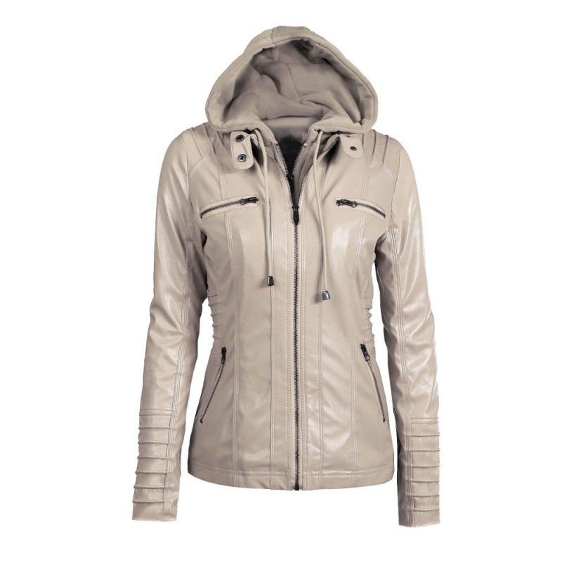 Fashion Women Leather Jacket Long-sleeved Hooded Zipper Coat Plus Size Leather Jacket
