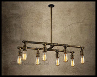 Vintage style retro rustic bar table Lustres chandelier boutique creative personality living room lamps Edison water pipes