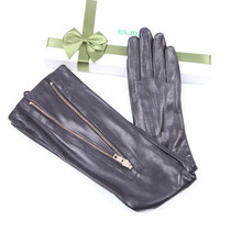 Womans Real Leather Long Gloves Imported Sheepskin Thin Velvet Lined Metal Zipper High Quality Female EL043NN