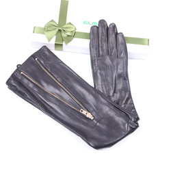 Woman's Real Leather Long Gloves Imported Sheepskin Thin Velvet Lined Metal Zipper High Quality Leather Gloves Female EL043NN