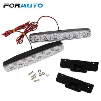 FORAUTO 2Pcs/set 6 LEDs Car Daytime Running Lights DC 12V Car Daytime LED Light Super Bright DRL Car Styling Universal