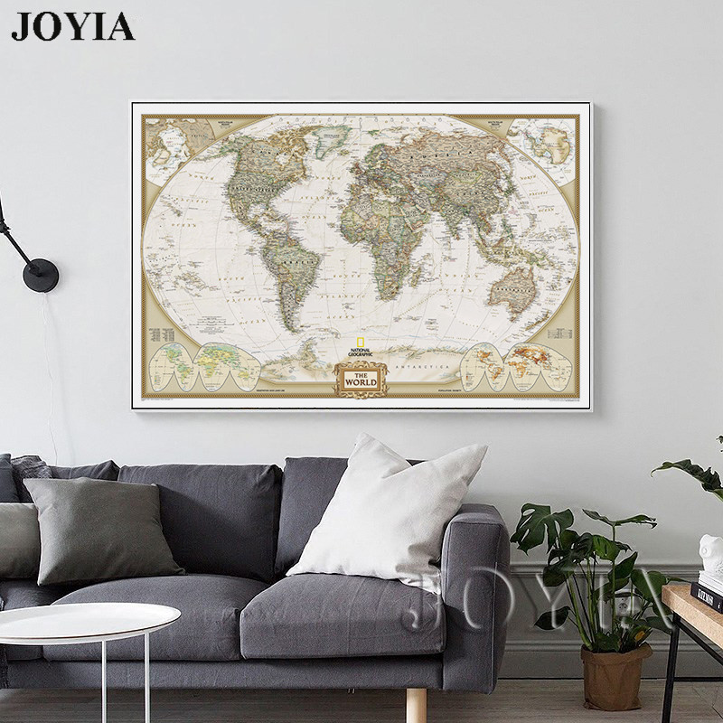 US $5.6 36% OFF|World Map Painting Canvas Prints Large Wall Art Europe  Vintage Maps Picture Poster For Living Room Study Office Decor No Frame-in  ...