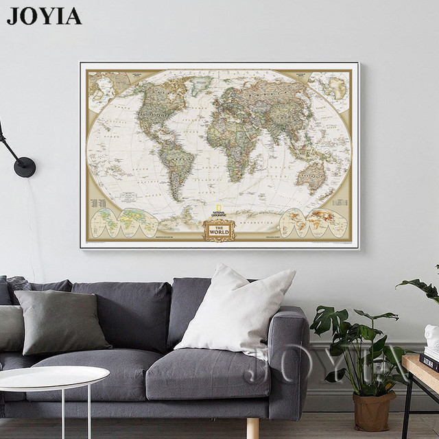 world map painting canvas prints large wall art europe vintage maps