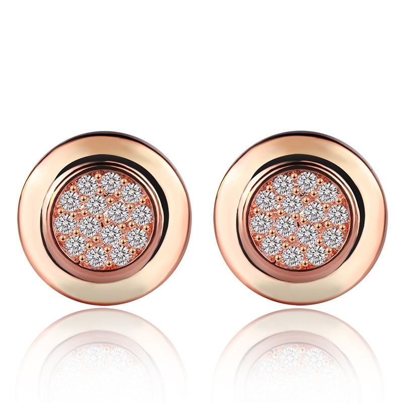 Earring Round Stud Earrings for Women Fashion Retro Jewelry Geometric Pattern Full Drill Zircon Rose Gold Element Earings Gifts