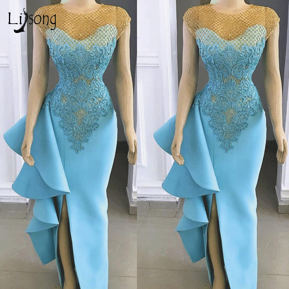 Real Image Sea Blue Sexy Mermaid Evening Dresses 2019 Sexy Side Split Long Prom Gowns Ruffles Party Dresses Lace Appliques