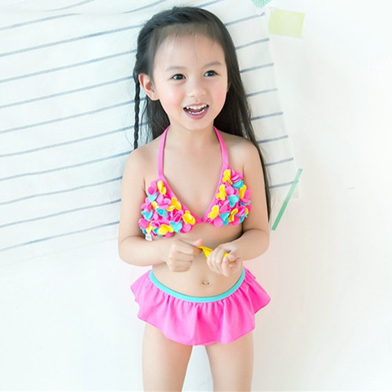 54dccd1fe587a retail cute children s swimsuit girls flower pink bikini baby girl swimwear  little girls swimsuits for children beach clothes-in Bikinis Set from  Sports ...