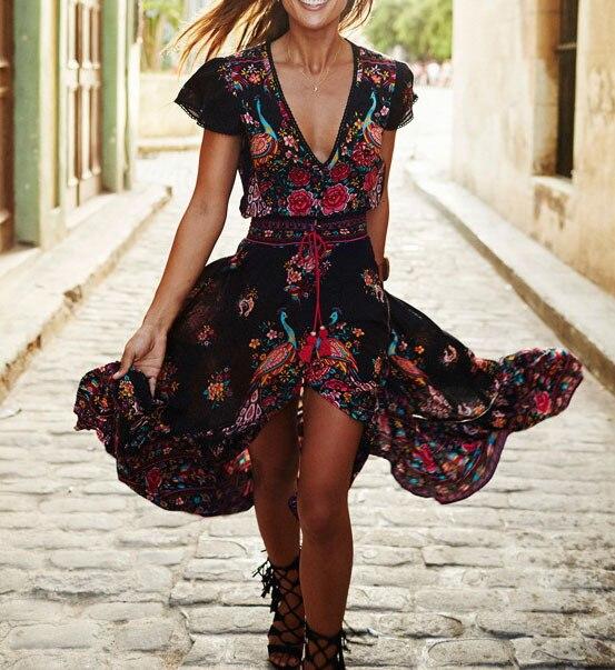 c535dc6c411d Boho Maxi Dress V Neck Short Sleeve Dark Floral Print High Split Front Long  Dress